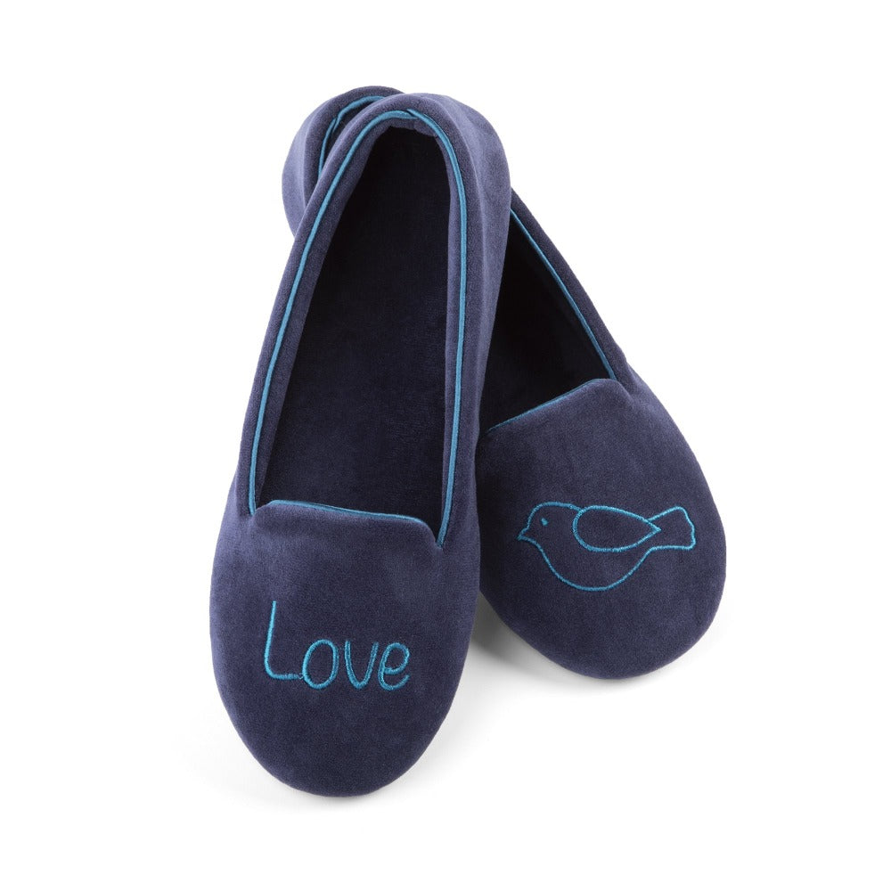 "Women's Velour Conversational Smoking Slippers Pair in Navy Blue one slipper has an illustration of a Bird, the other says ""Love"""