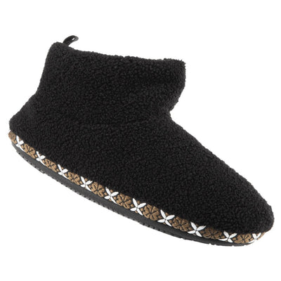 Women's Cozy Berber Nina Bootie Slippers in Black Right Angled View