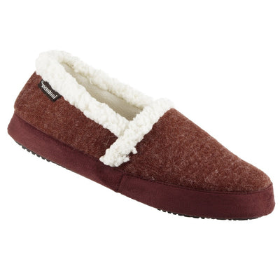 Women's Microsuede Marisol Closed Back Slippers in Henna (Maroon) Right Angled View