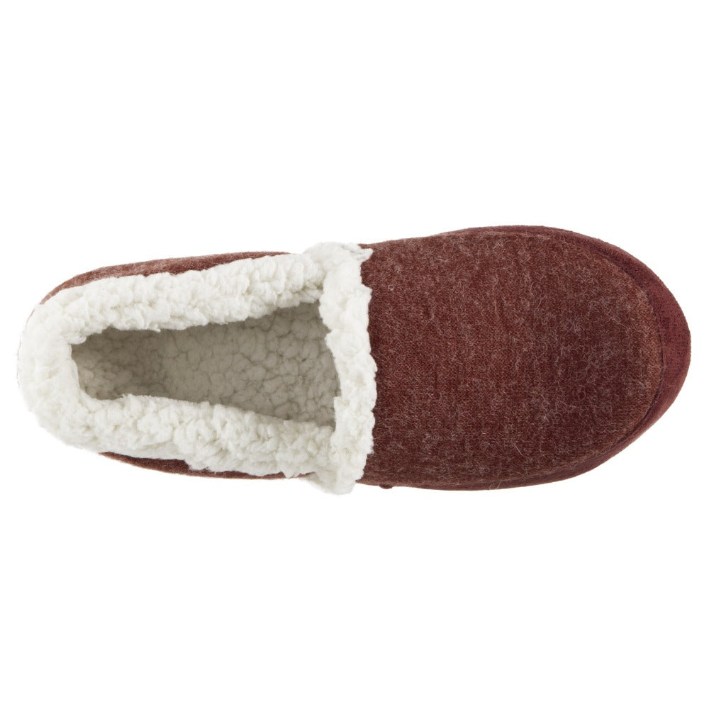 Women's Microsuede Marisol Closed Back Slippers in Henna (Maroon) Inside Top View
