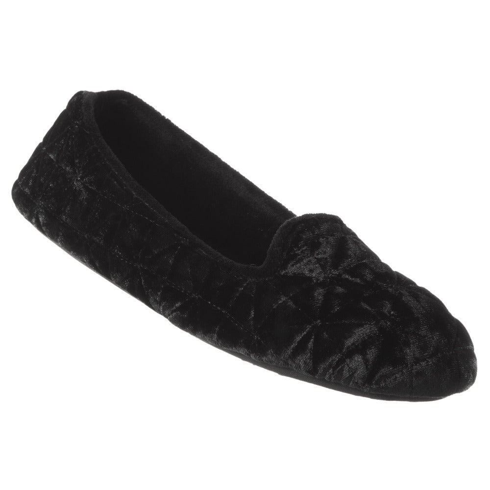 Women's Stephanie Crushed Velour Closed Back Slippers in Black Right Angled View