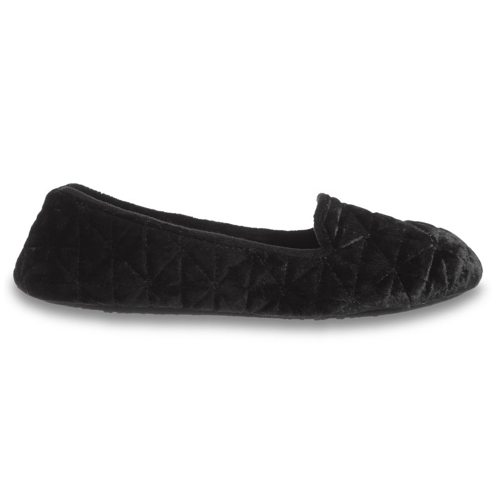 Women's Stephanie Crushed Velour Closed Back Slippers in Black Profile