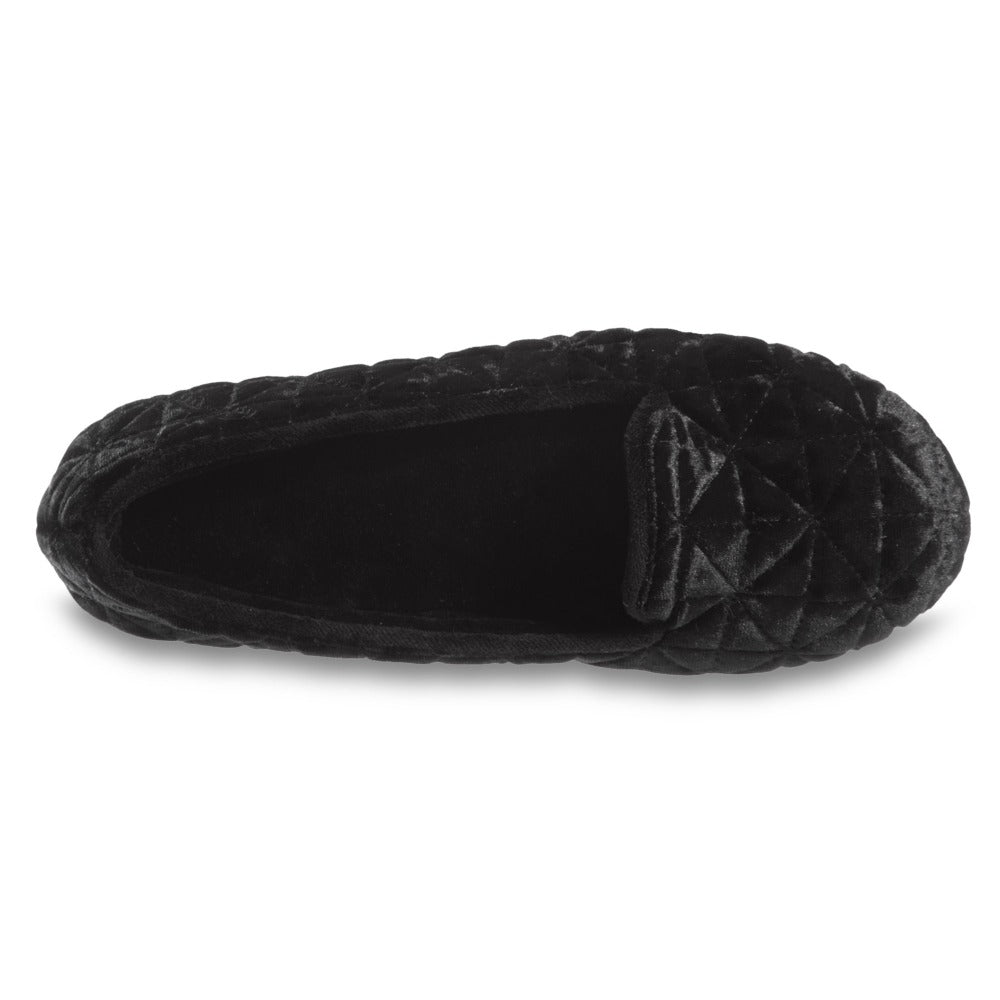 Women's Stephanie Crushed Velour Closed Back Slippers in Black Inside Top View