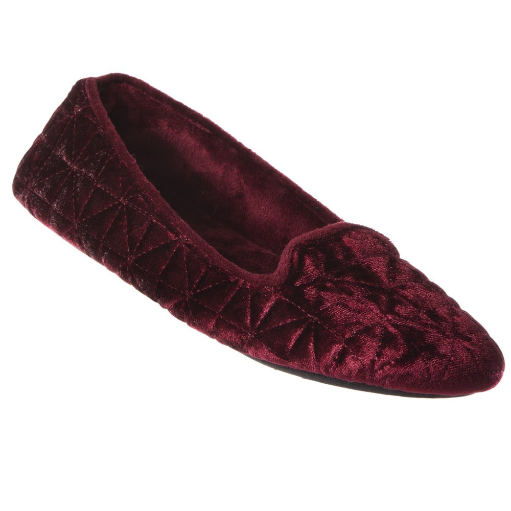 Women's Stephanie Crushed Velour Closed Back Slippers in Chili Red Right Angled View
