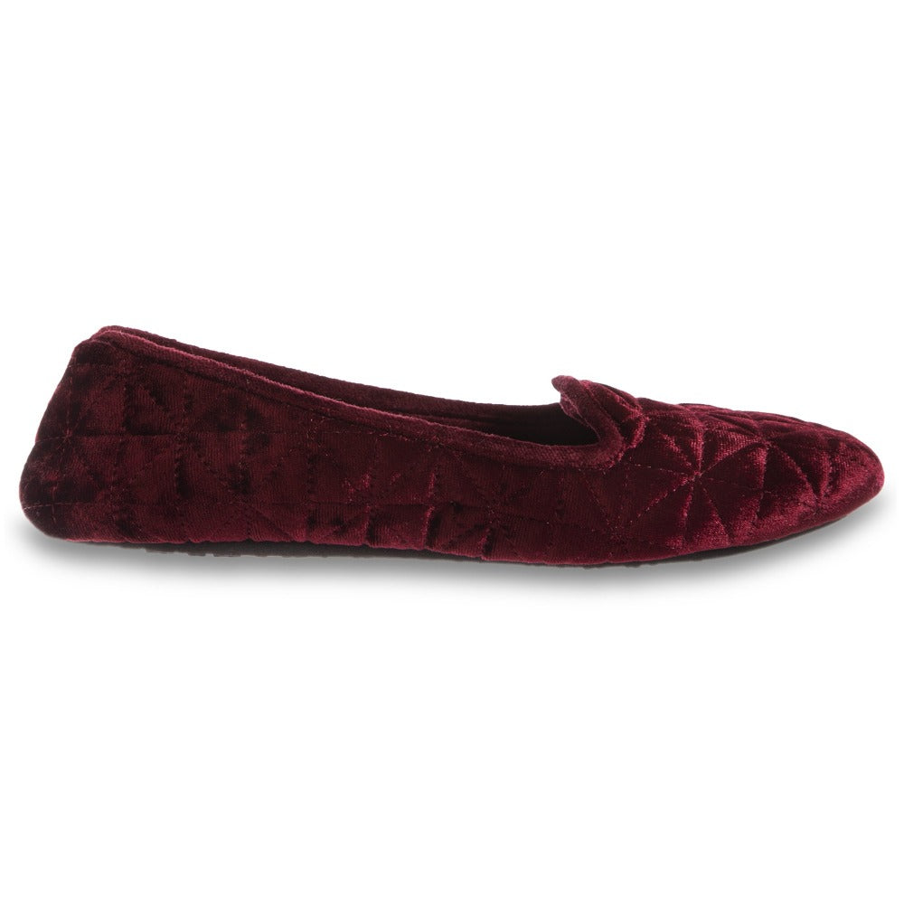 Women's Stephanie Crushed Velour Closed Back Slippers in Chili Red Profile