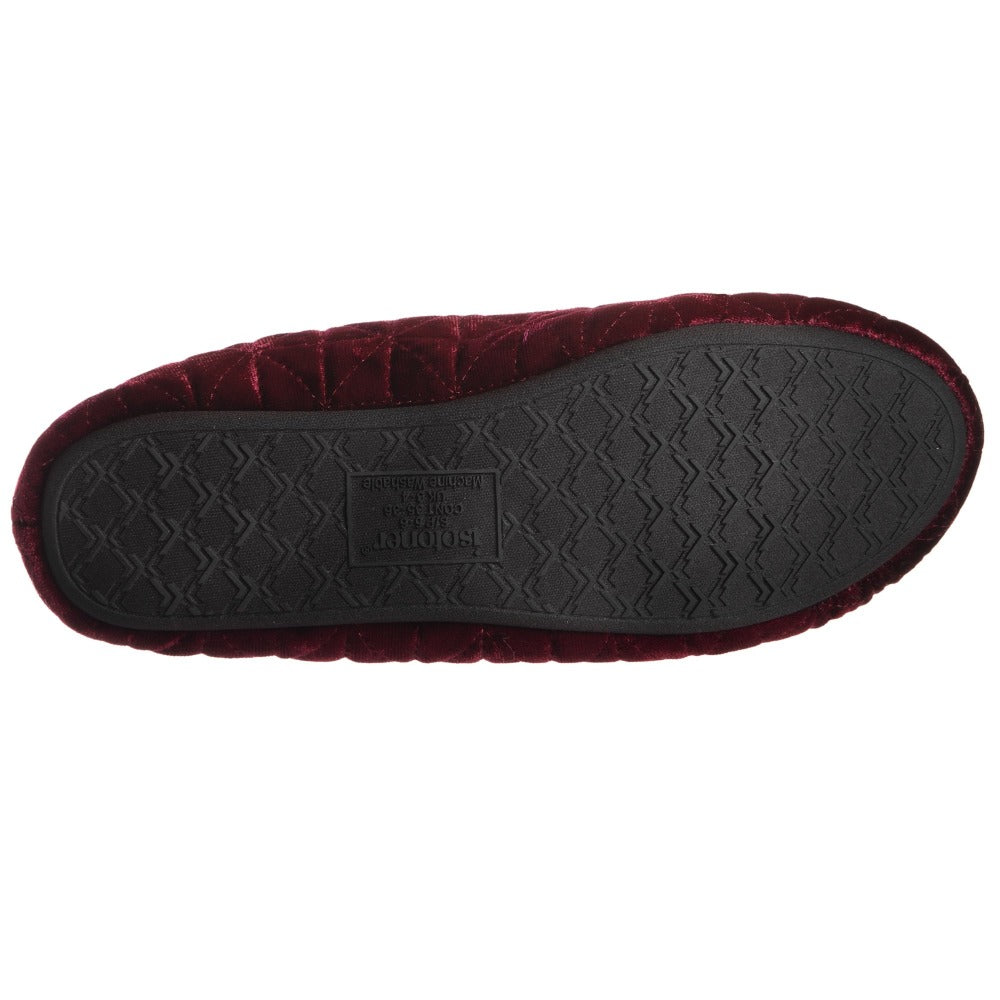 Women's Stephanie Crushed Velour Closed Back Slippers in Chili Red Bottom Sole Tread