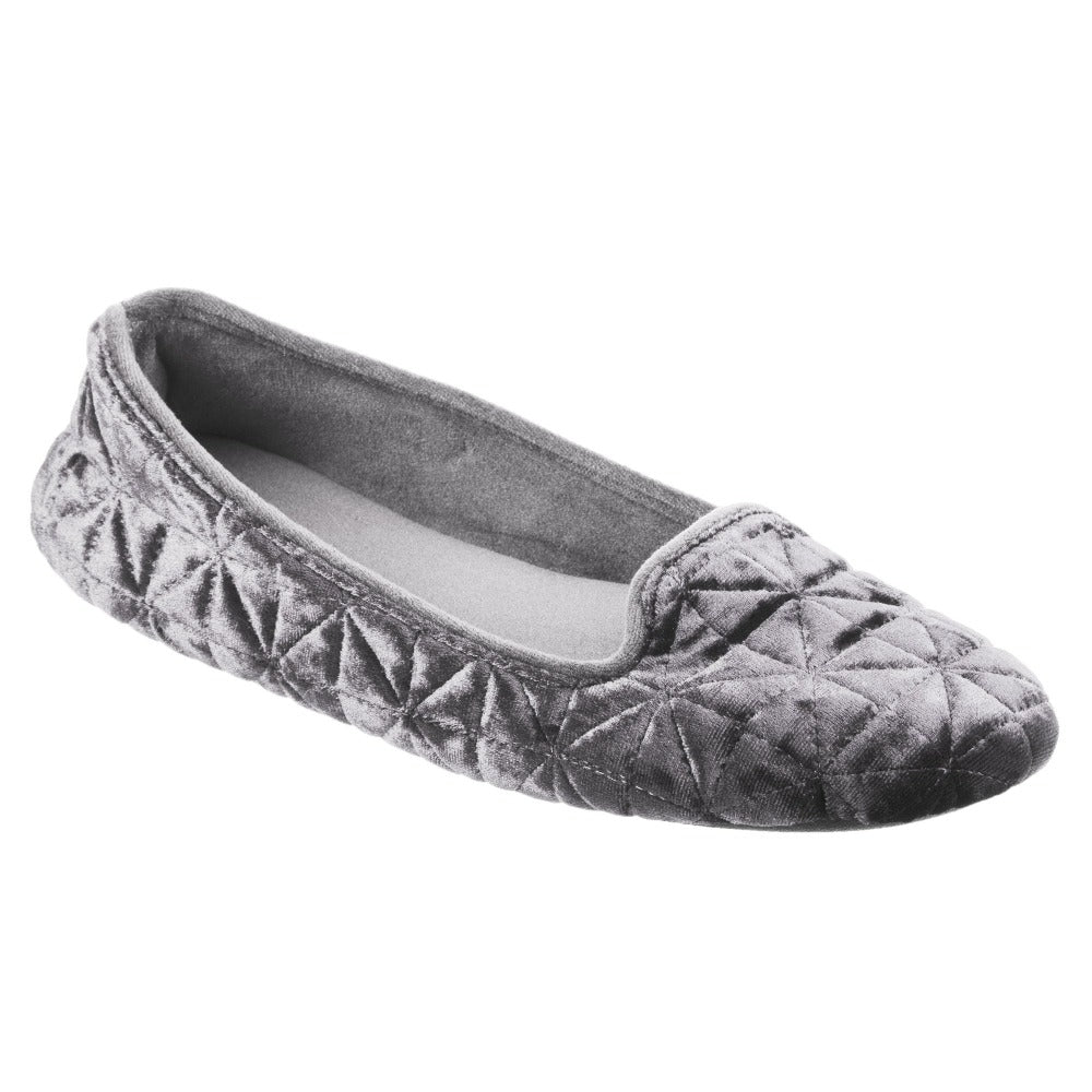Women's Stephanie Crushed Velour Closed Back Slippers in Light Grey Right Angled View