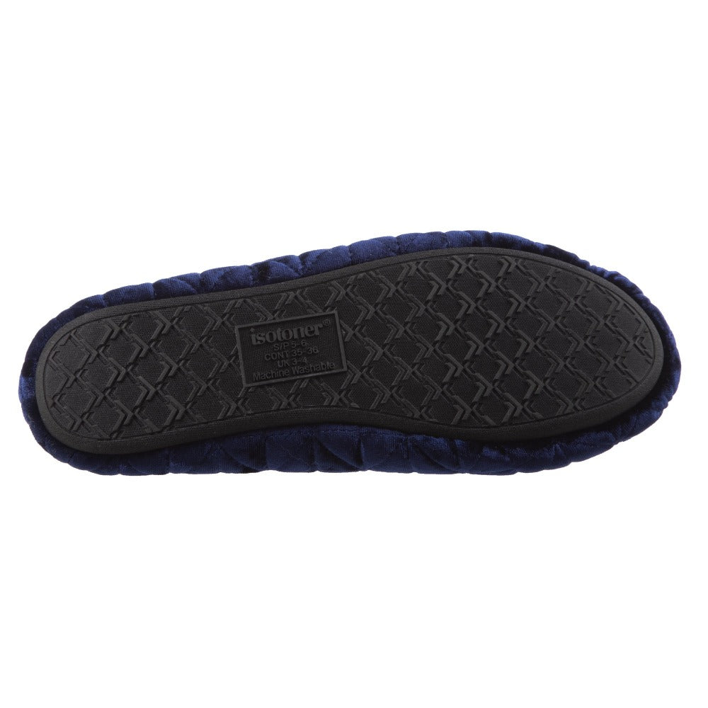 Women's Stephanie Crushed Velour Closed Back Slippers in Navy Blue Bottom Sole Tread
