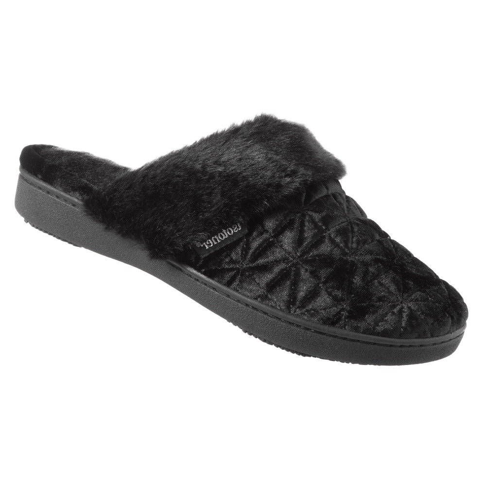 Women's Crushed Velour Stephanie Clog Slippers in Black Right Angled View