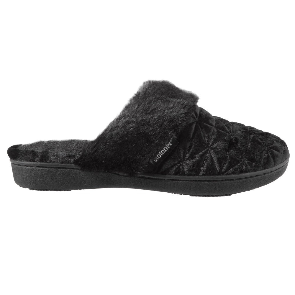 Women's Crushed Velour Stephanie Clog Slippers in Black Profile