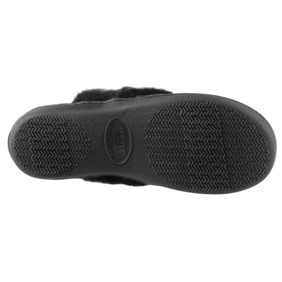 Women's Crushed Velour Stephanie Clog Slippers in Black Bottom Sole Tread