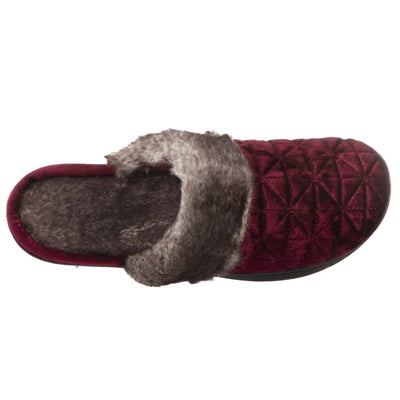 Women's Crushed Velour Stephanie Clog Slippers in Henna Red Inside Top View