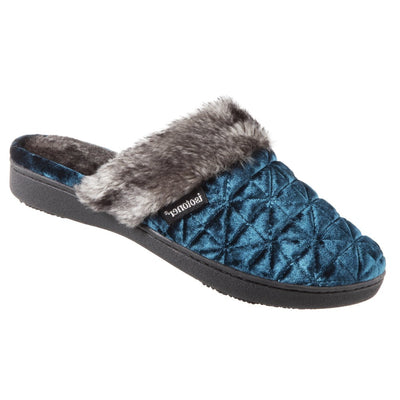 Women's Crushed Velour Stephanie Clog Slippers in Moroccan Blue  Right Angled View