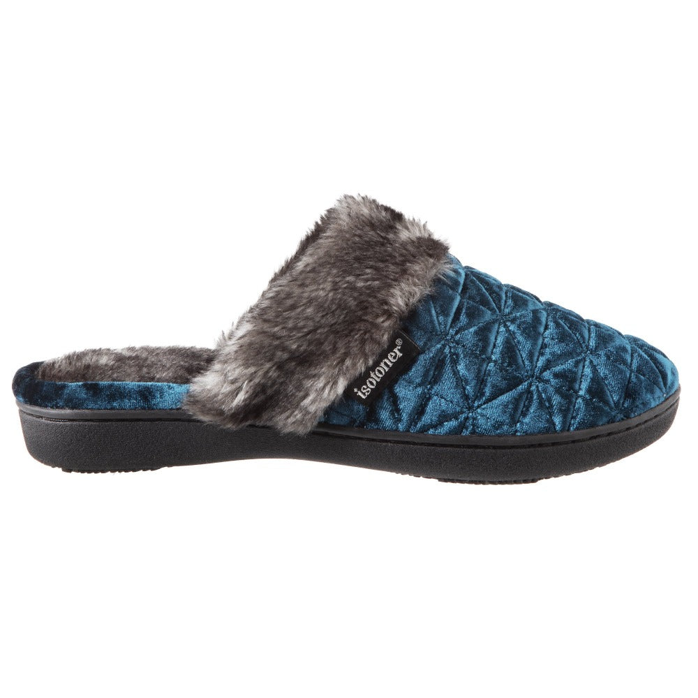 Women's Crushed Velour Stephanie Clog Slippers in Moroccan Blue Profile