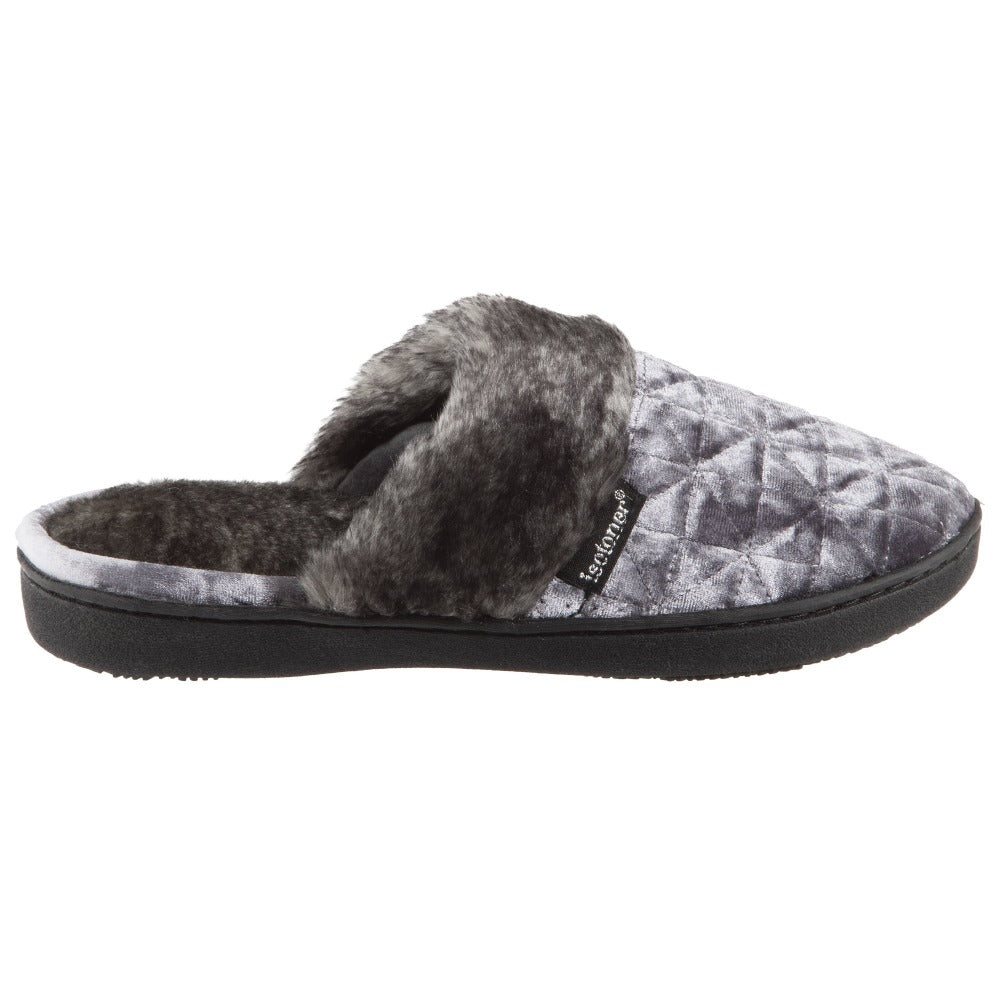 Women's Crushed Velour Stephanie Clog Slippers in Mineral Profile