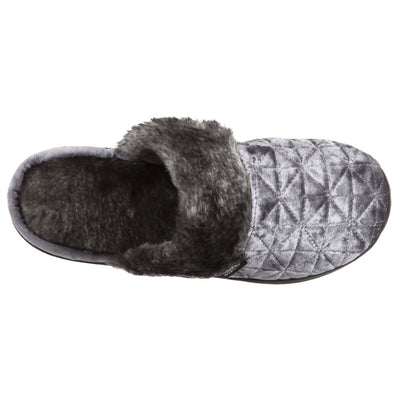 Women's Crushed Velour Stephanie Clog Slippers in Mineral Inside Top View