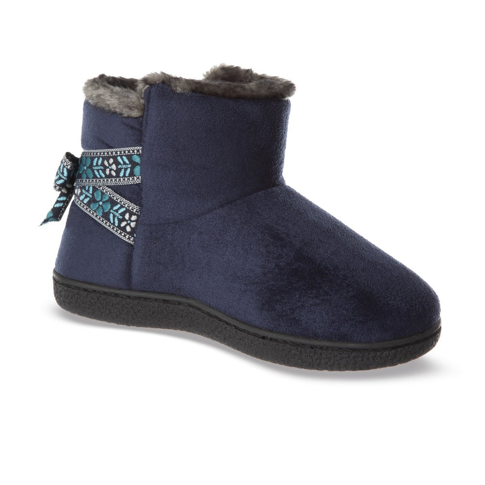 Women's Microsuede Nora Bootie Slippers in Navy Blue Right Angled View