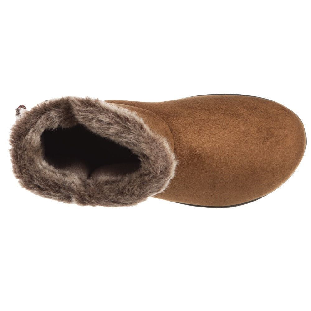 Women's Nora Microsuede Boot Slippers Cognac Inside Top View