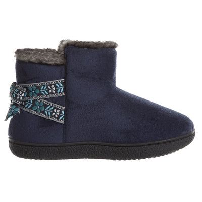 Women's Nora Microsuede Boot Slippers Navy Blue Profile
