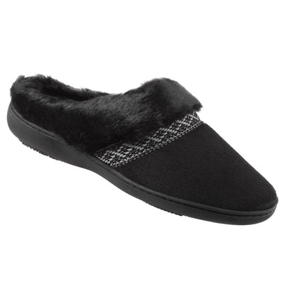 Women's Microsuede Basil Hoodback Slippers in Black Right Angled View