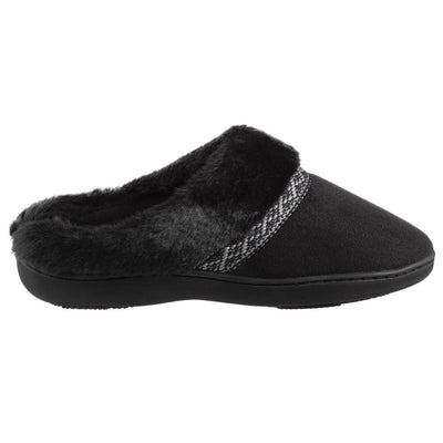 Women's Basil Microsuede Hoodback Slippers Black Profile