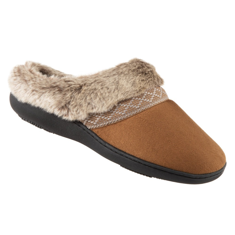 Women's Microsuede Basil Hoodback Slippers in Cognac Right Angled View