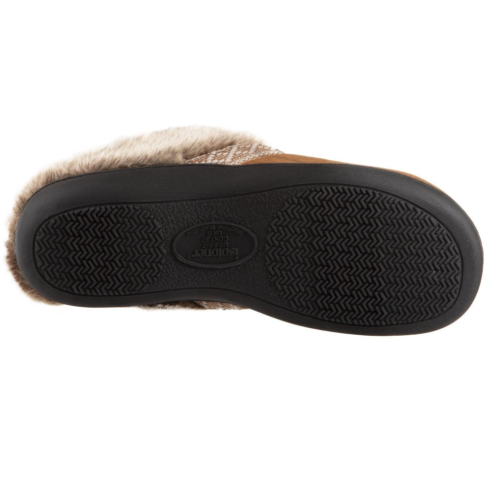 Women's Microsuede Basil Hoodback Slippers in Cognac Bottom Sole Tread