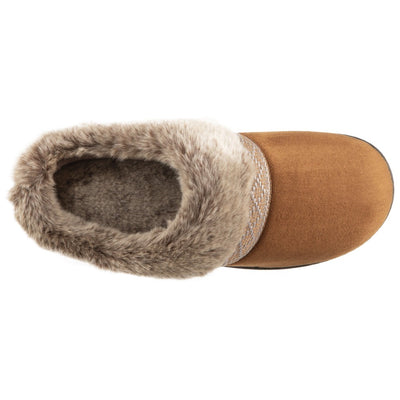 Women's Microsuede Basil Hoodback Slippers in Cognac Inside Top View
