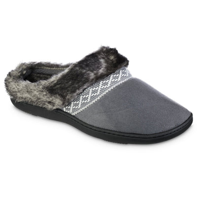 Women's Microsuede Basil Hoodback Slippers in Mineral Right Angled View