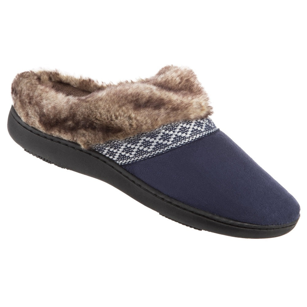 Women's Microsuede Basil Hoodback Slippers in Navy Blue Right Angled View