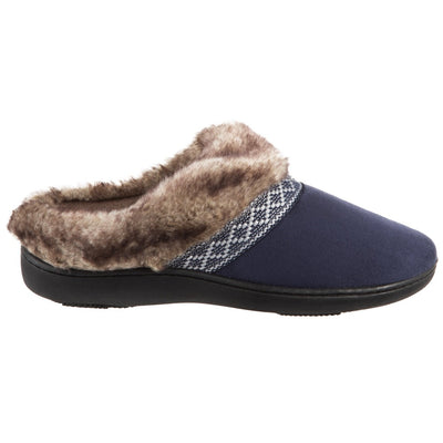 Women's Basil Microsuede Hoodback Slippers Navy Blue Profile