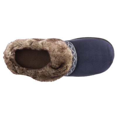 Women's Basil Microsuede Hoodback Slippers Navy Blue Inside Top View
