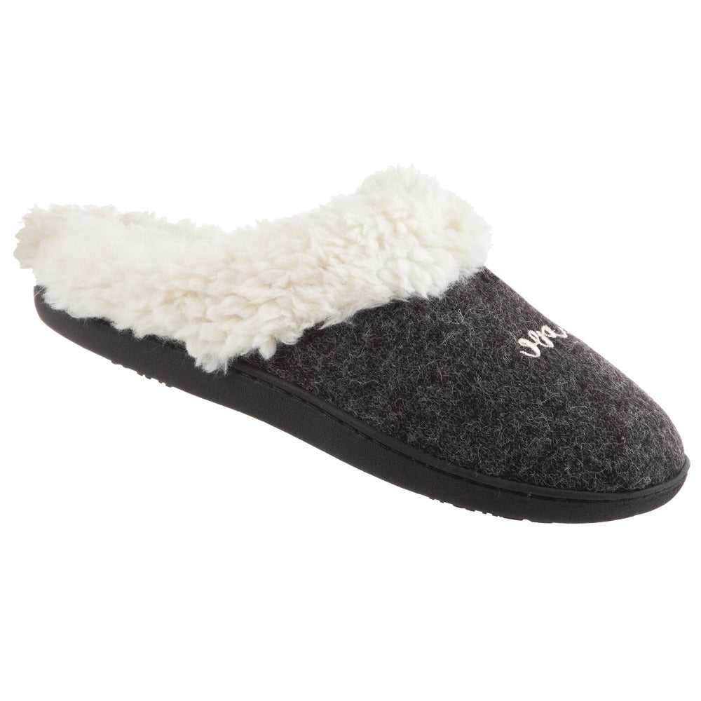 Women's Sweater Knit Novelty Clog Slippers Black Amour/Love Right Angled View