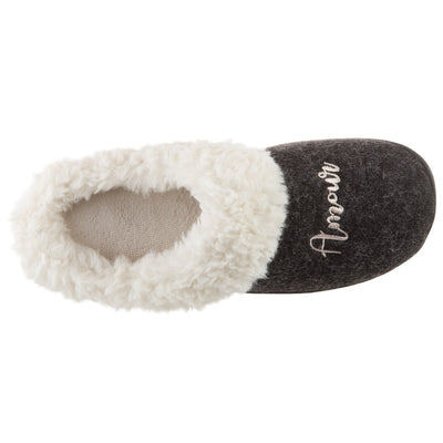 Women's Sweater Knit Novelty Clog Slippers Black Amour/Love Inside Top View