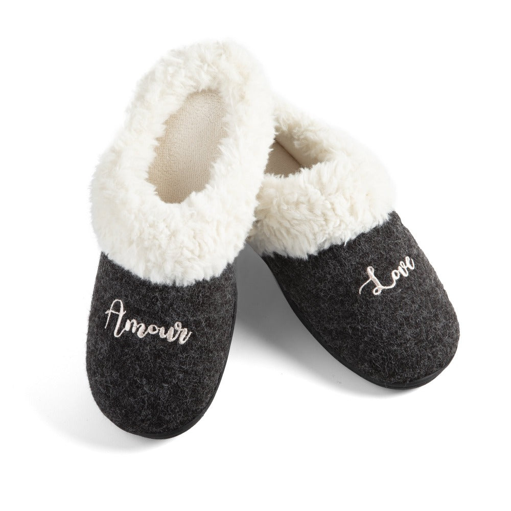 Women's Sweater Knit Novelty Clog Slippers Black Amour/Love Pair