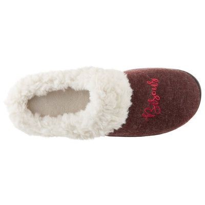Women's Sweater Knit Novelty Clog Slippers Henna (Maroon) Bisous/Kisses Inside Top View