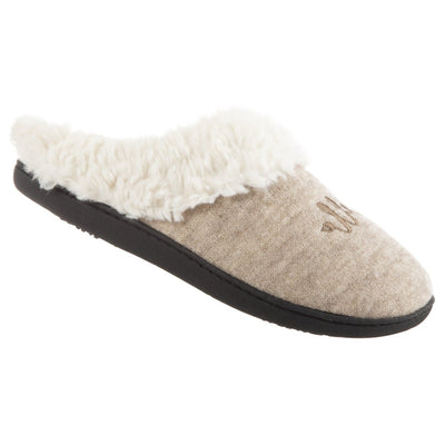 Women's Sweater Knit Novelty Clog Slippers Oatmeal Bonjour/Hello Right Angled View