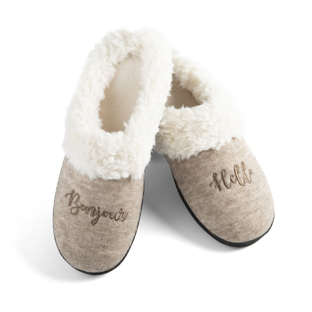 Women's Sweater Knit Novelty Clog Slippers Oatmeal Bonjour/Hello Pair