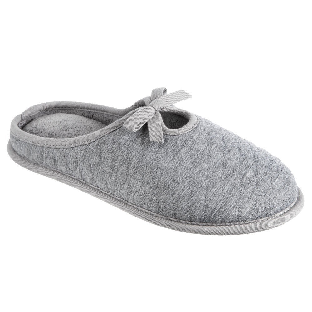 Women's Quilted Jersey Amelia Hoodback Slippers in Ash Right Angled View