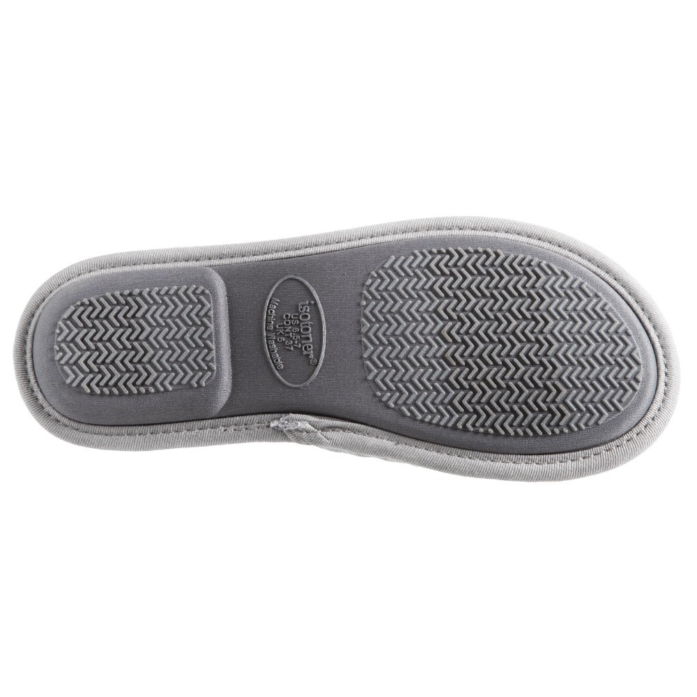 Women's Quilted Jersey Amelia Hoodback Slippers in Ash Bottom Sole Tread