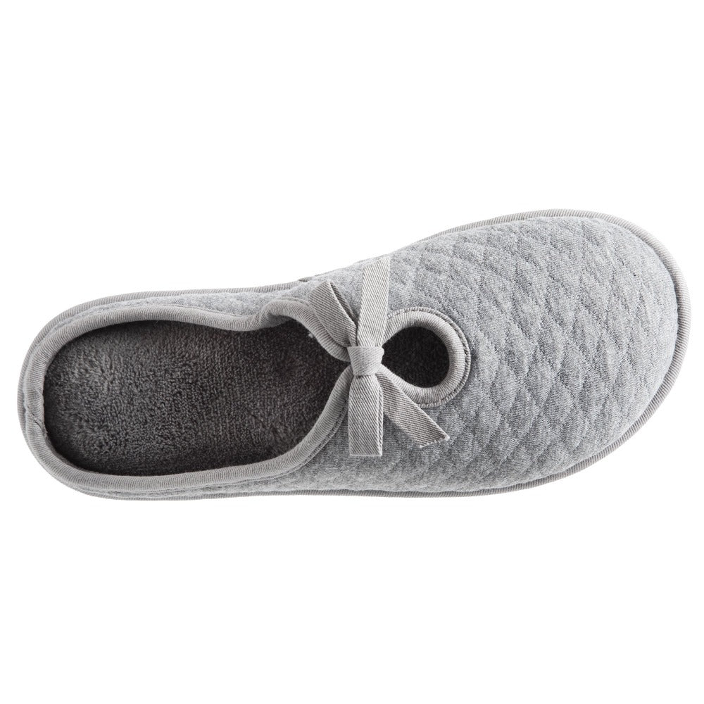 Women's Quilted Jersey Amelia Hoodback Slippers in Ash Inside Top View