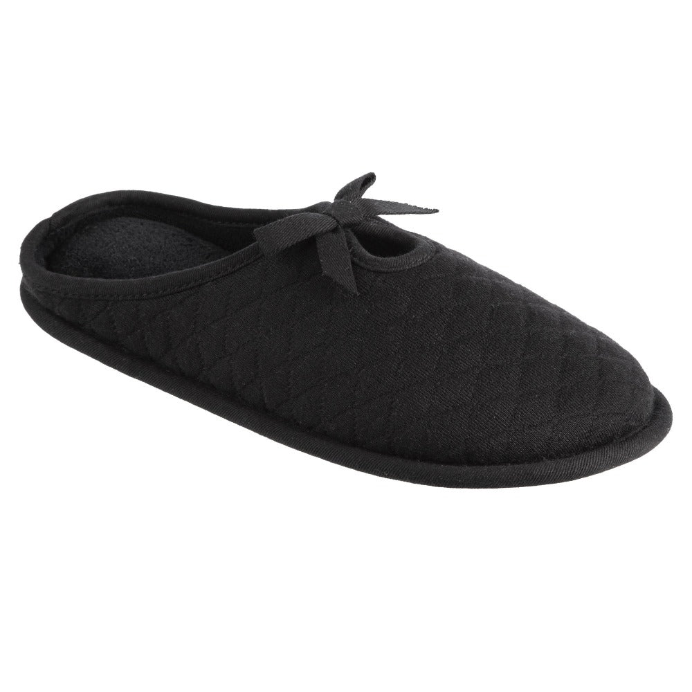 Women's Quilted Jersey Amelia Hoodback Slippers in Black Right Angled View