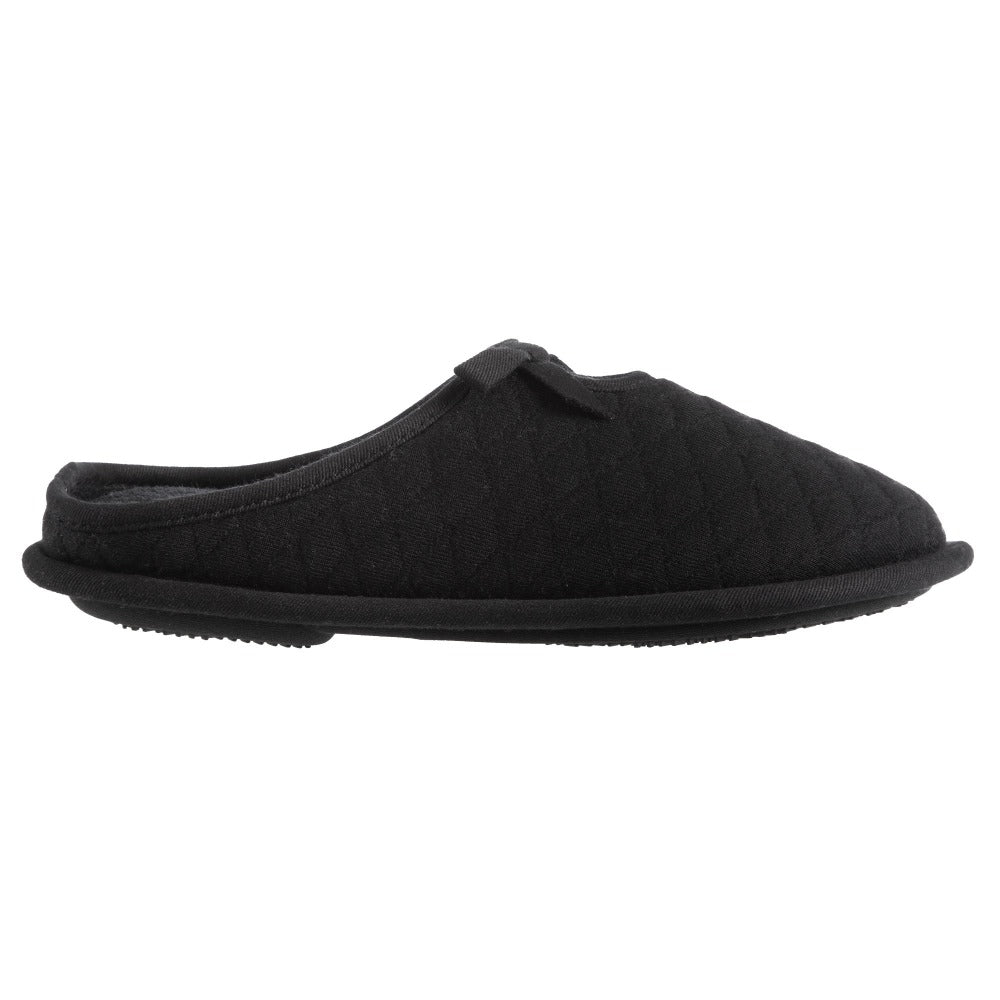 Women's Amelia Quilted Jersey Hoodback Slippers Black Profile