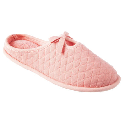 Women's Quilted Jersey Amelia Hoodback Slippers in Iced Strawberry Right Angled View