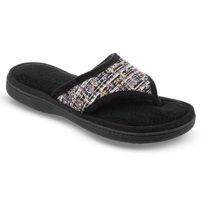 Women's Tweed Nikki Thong Slippers in Black Right Angled View