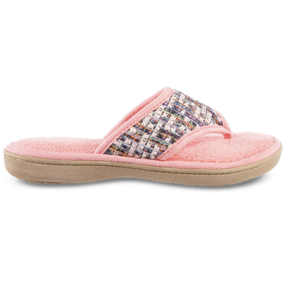 Women's Tweed Nikki Thong Slippers in Iced Strawberry (Pink) Profile View