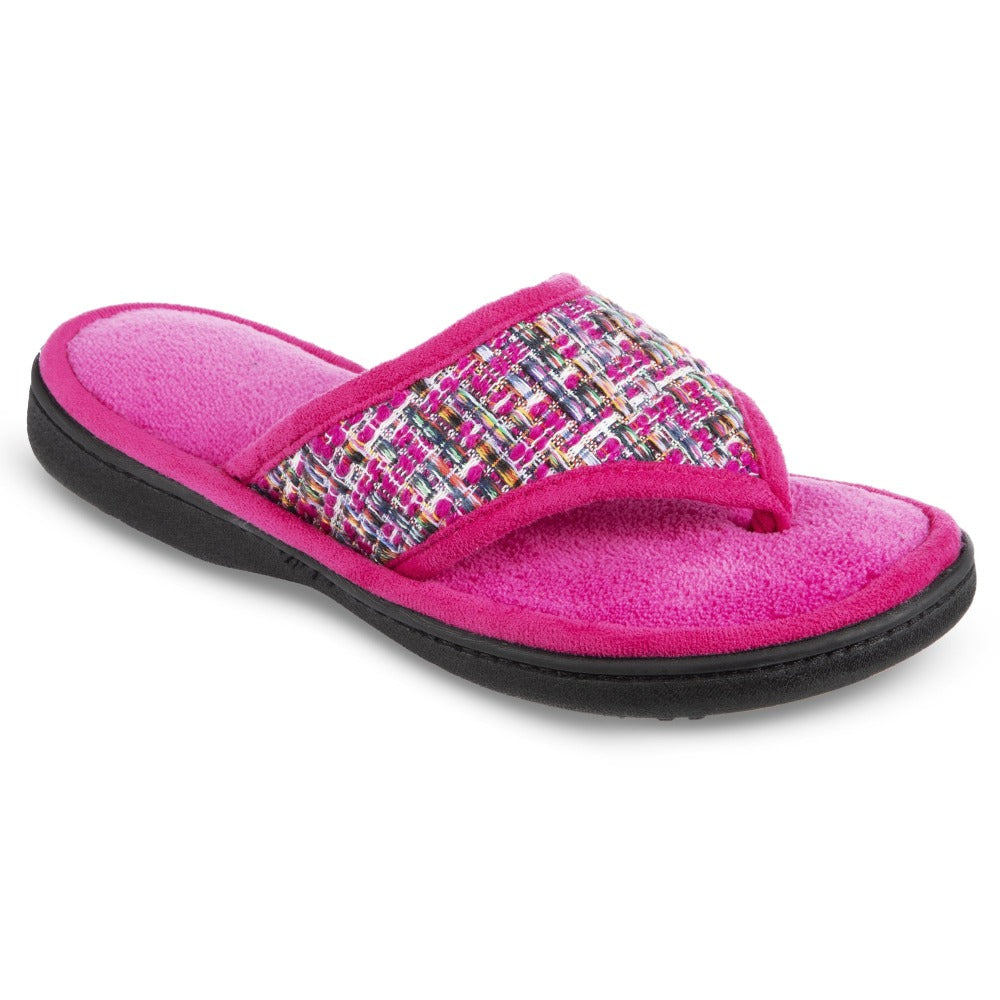 Women's Tweed Nikki Thong Slippers in Very Berry Right Angled View