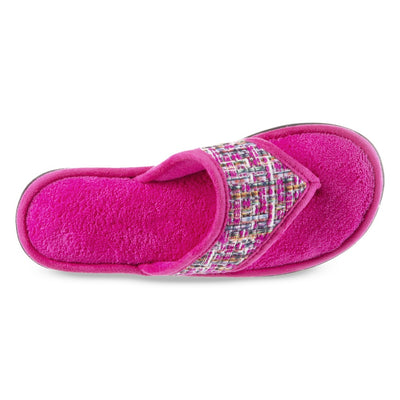 Women's Tweed Nikki Thong Slippers in Very Berry Top Inside View