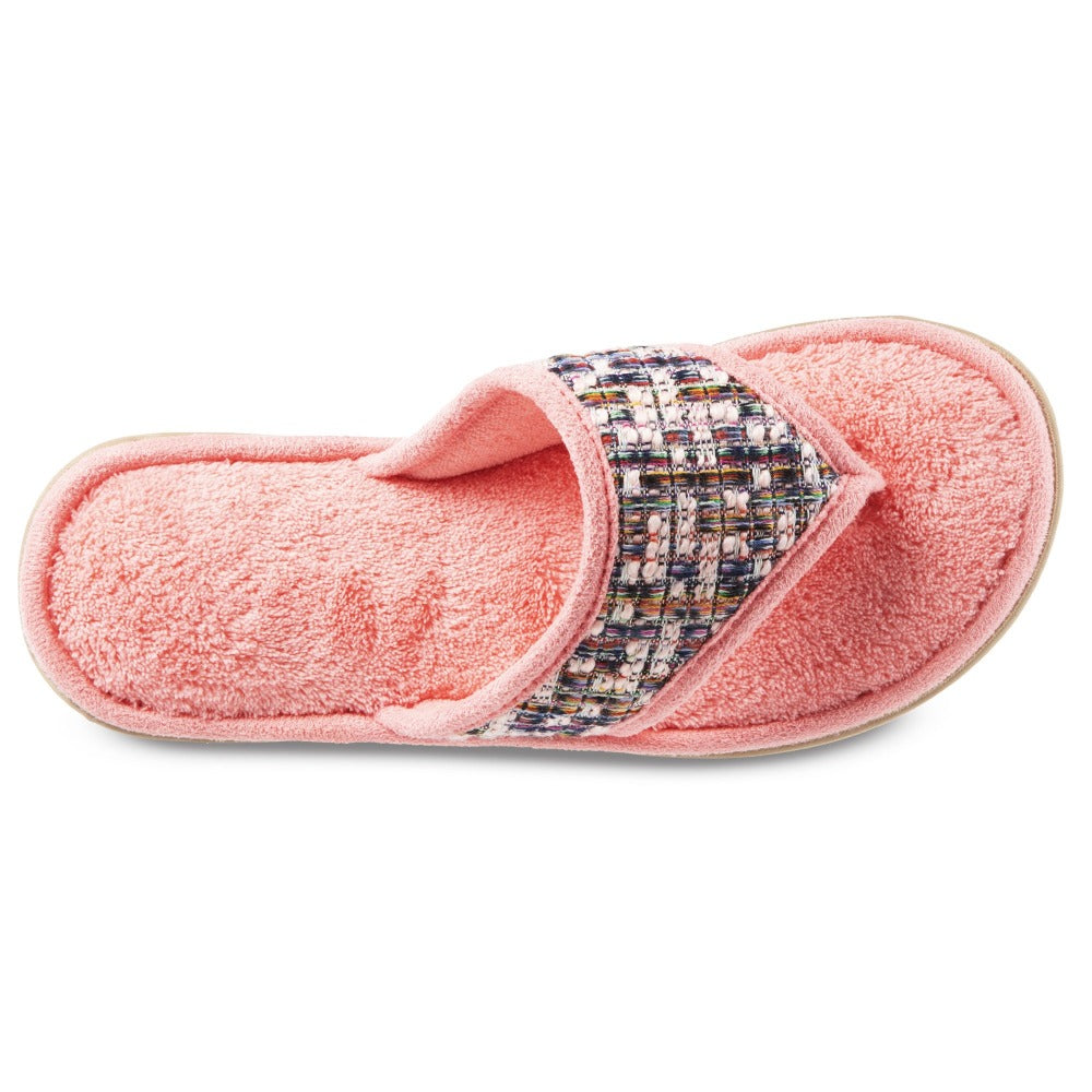 Women's Tweed Nikki Thong Slippers in Iced Strawberry (Pink) Top View