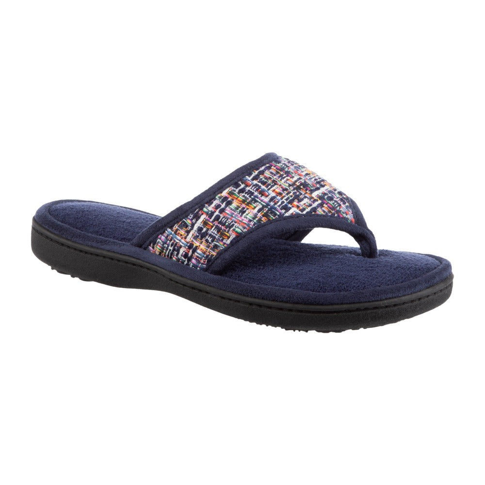 Women's Nikki Tweed Thong Slippers in Navy Blue Quarter View